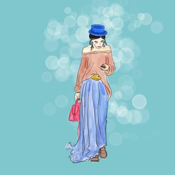 Illustration Frau mit Hut Blau Petra Radenkovic