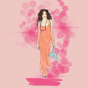 Illustration langes Kleid