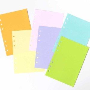 planer einlagen zusatzpapier blanco farben grün rosa orange lila blau gelb